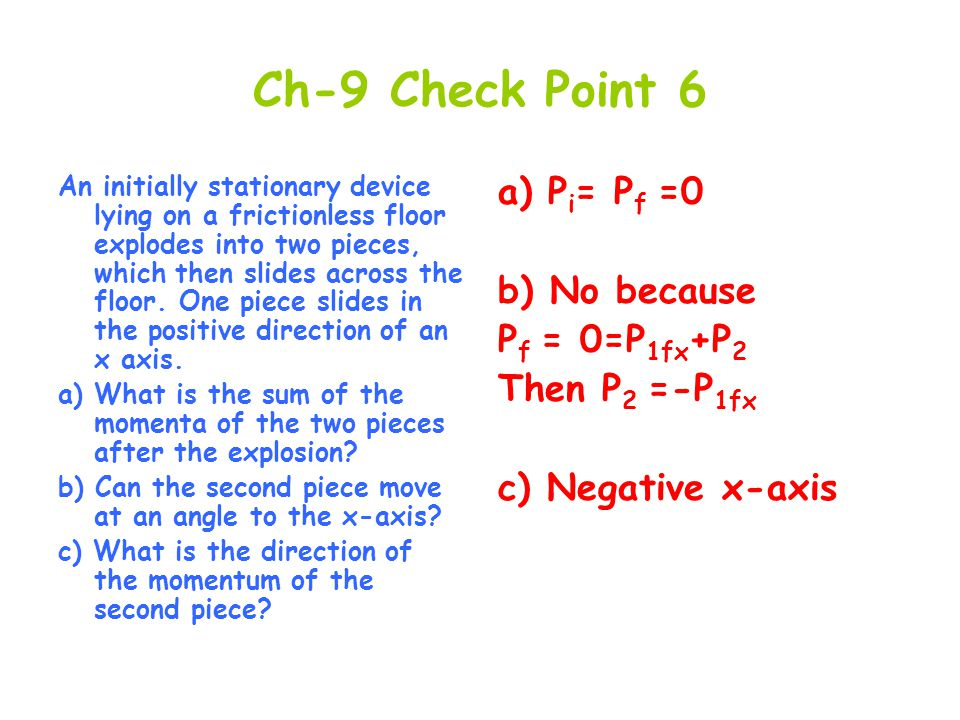 Ch-9 Check Point 6 a) Pi= Pf =0 b) No because Pf = 0=P1fx+P2