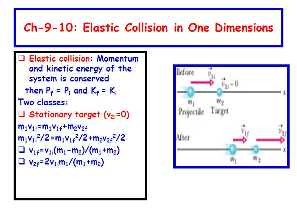 Ch-9-10: Elastic Collision in One Dimensions