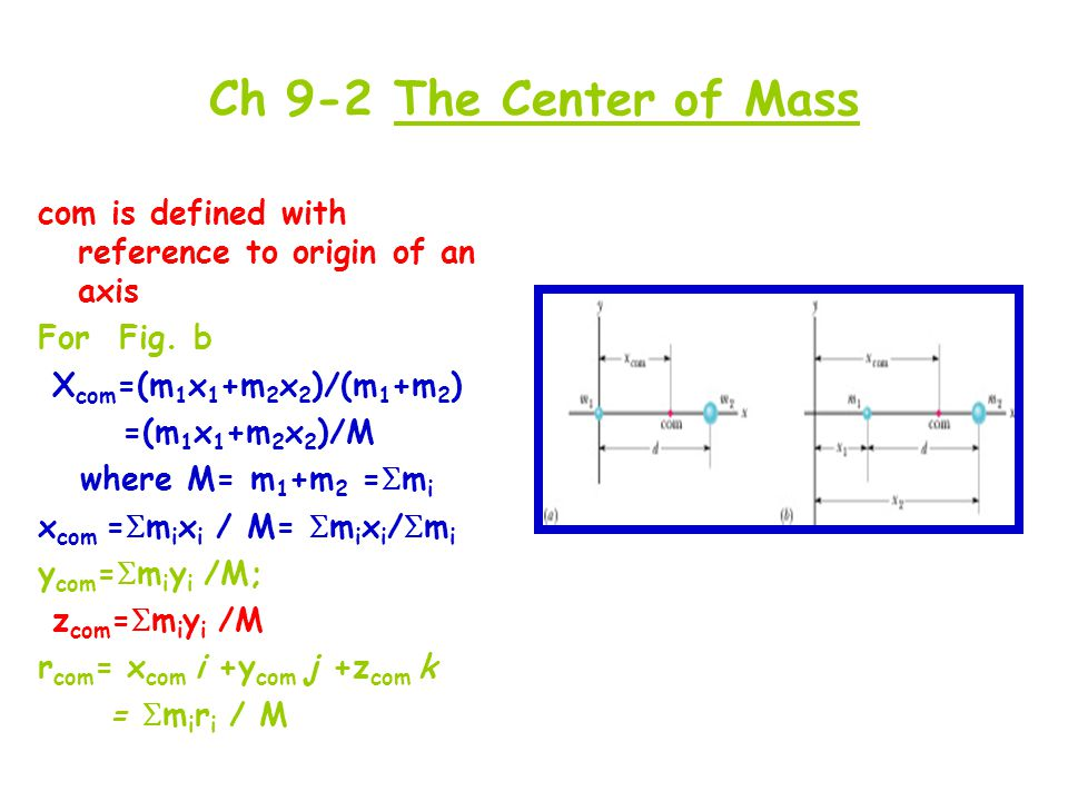 Ch 9-2 The Center of Mass com is defined with reference to origin of an axis. For Fig. b. Xcom=(m1x1+m2x2)/(m1+m2)