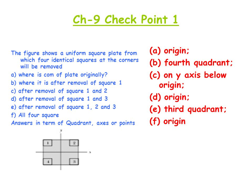 Ch-9 Check Point 1 (a) origin; (b) fourth quadrant;