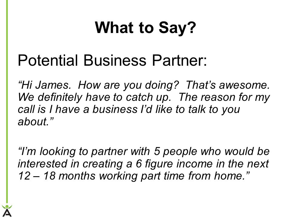 What to Say Potential Business Partner: