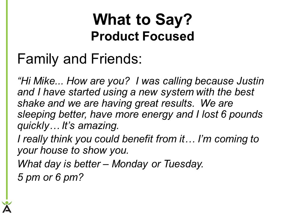 What to Say Product Focused