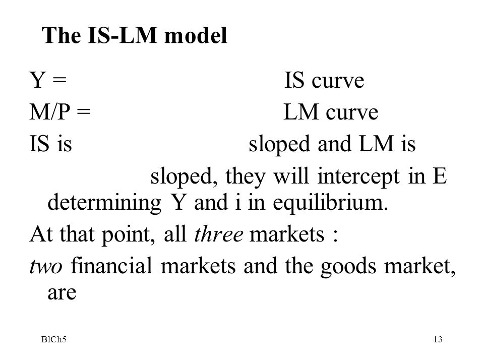 sloped, they will intercept in E determining Y and i in equilibrium.