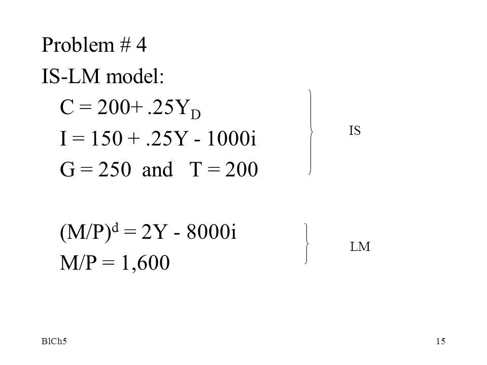 Problem # 4 IS-LM model: C = 200+ .25YD I = 150 + .25Y - 1000i