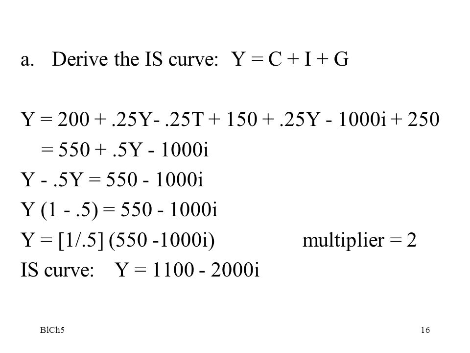 Derive the IS curve: Y = C + I + G