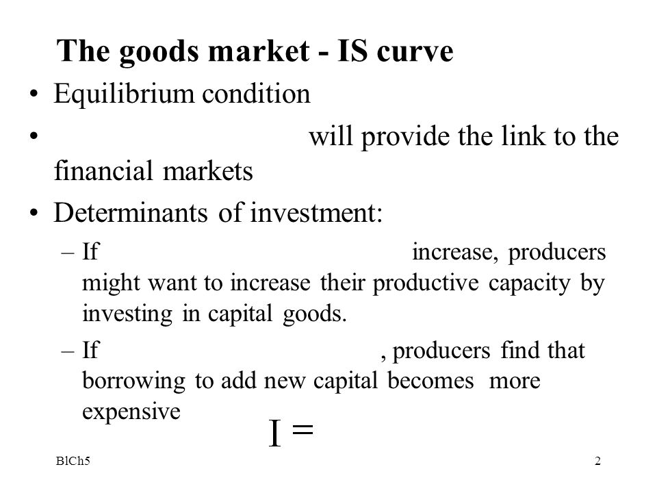The goods market - IS curve