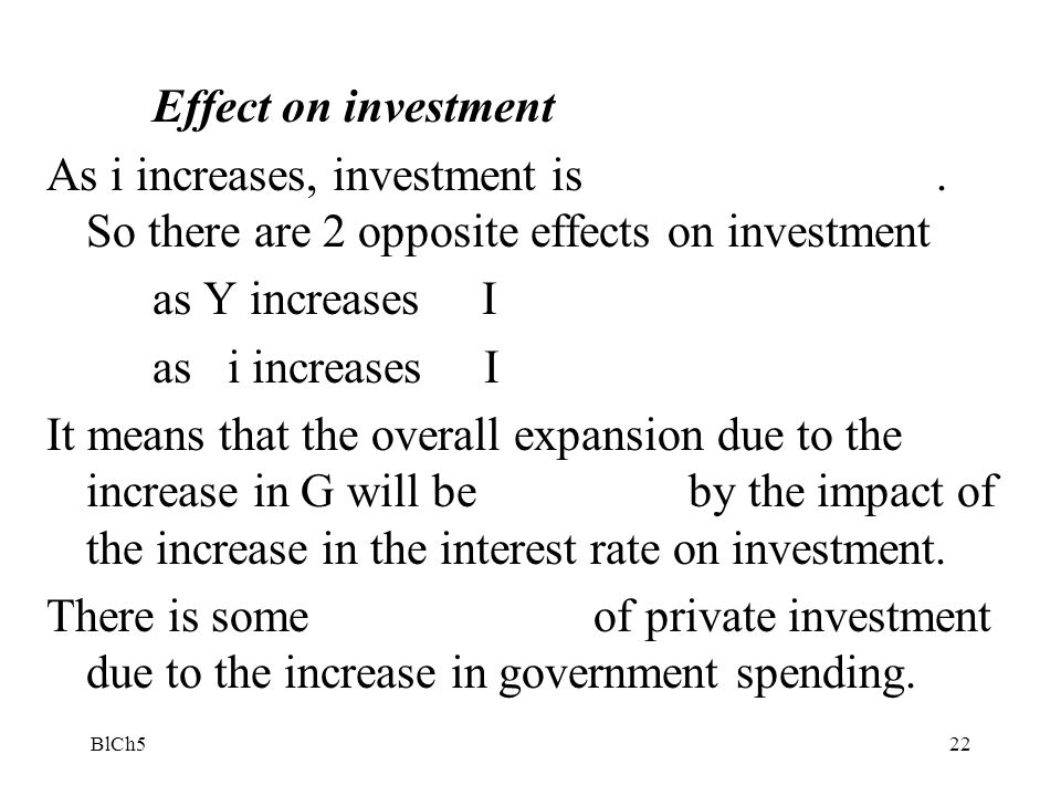 Effect on investment As i increases, investment is . So there are 2 opposite effects on investment.