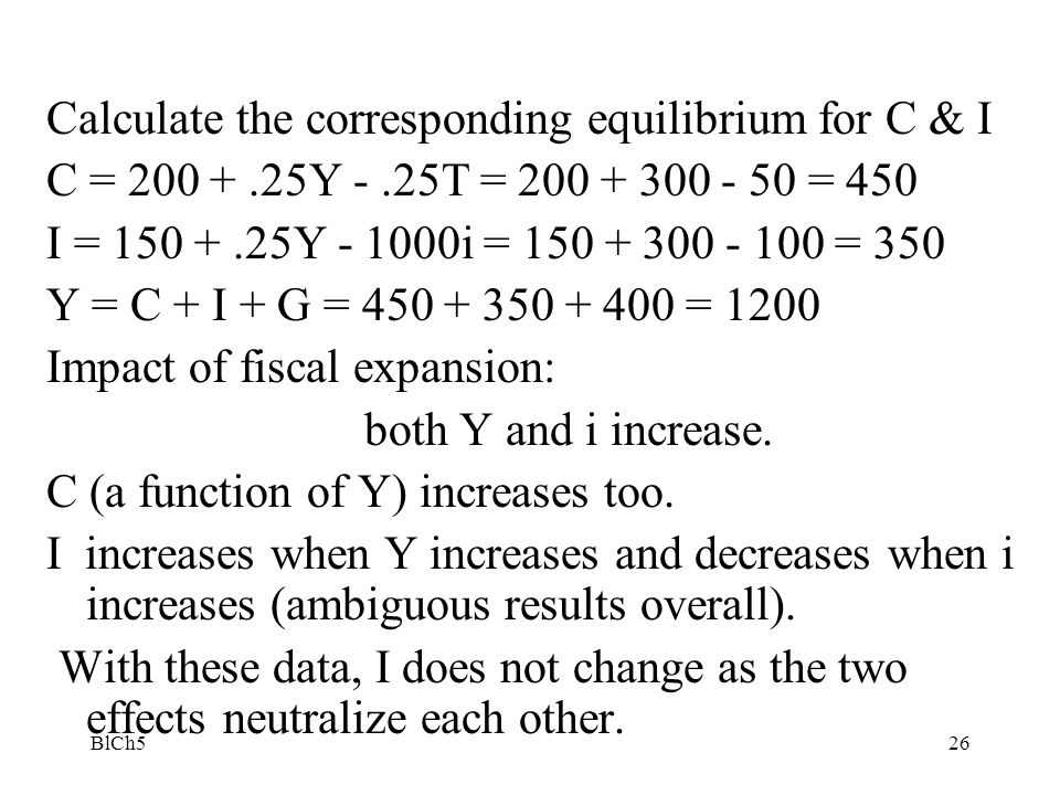 Calculate the corresponding equilibrium for C & I