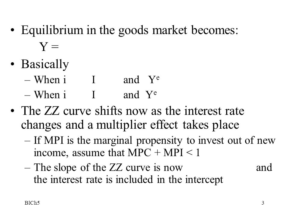 Equilibrium in the goods market becomes: Y = Basically