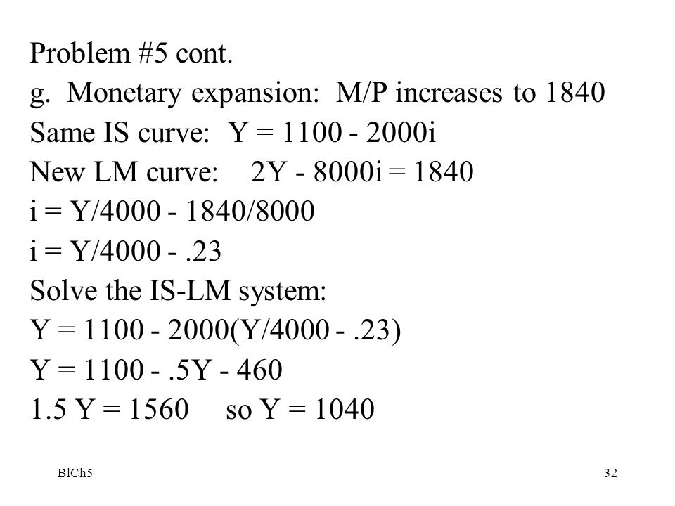 g. Monetary expansion: M/P increases to 1840