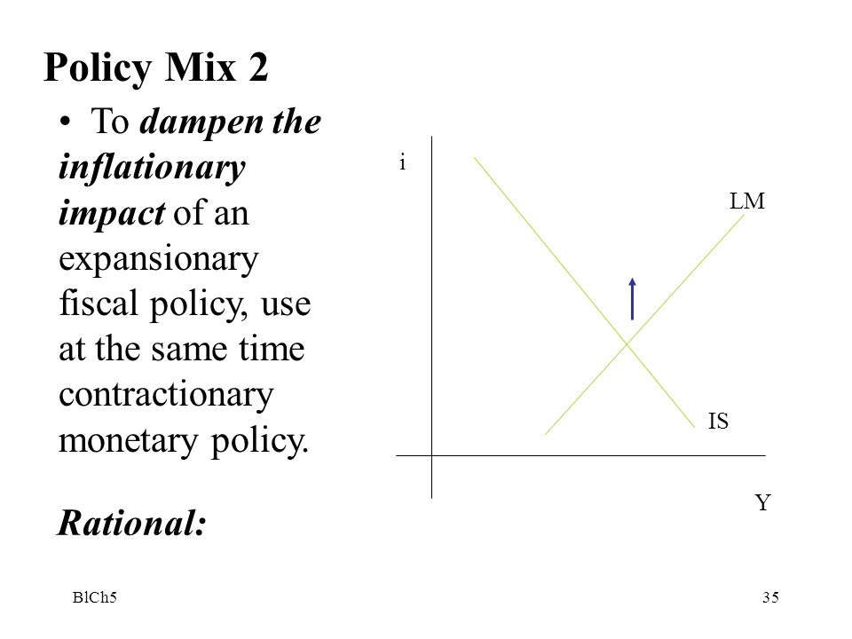 Policy Mix 2 To dampen the inflationary impact of an expansionary fiscal policy, use at the same time contractionary monetary policy.
