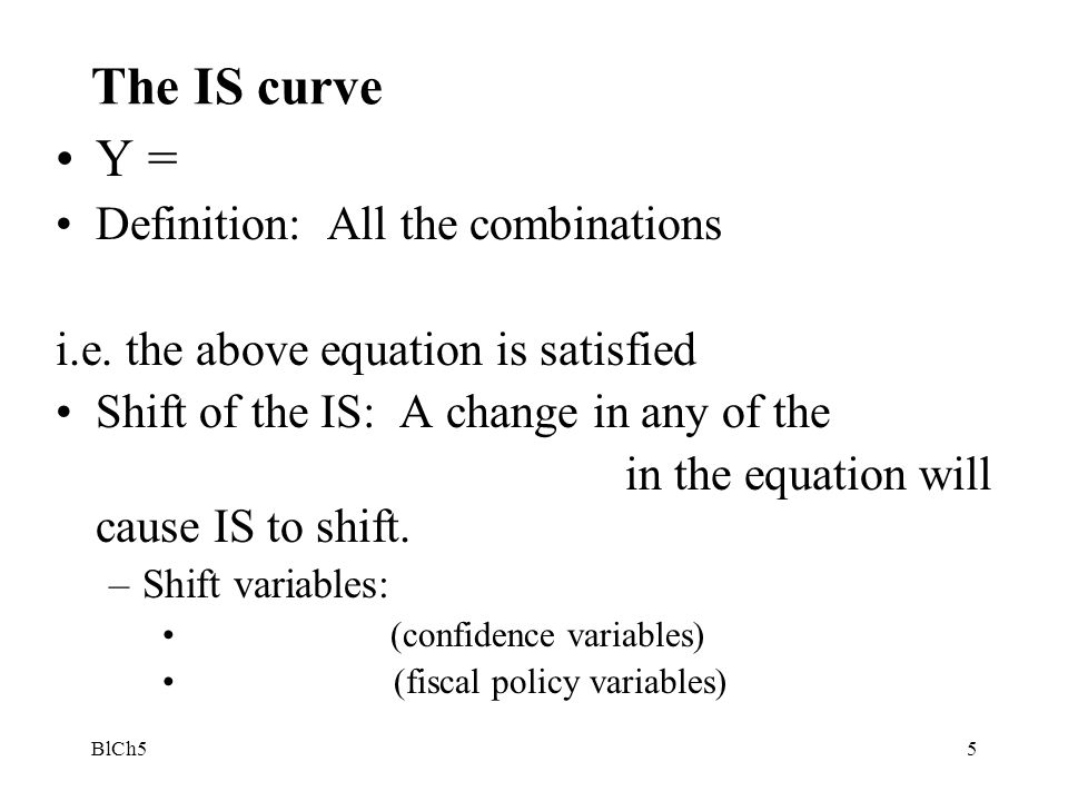 The IS curve Y = Definition: All the combinations