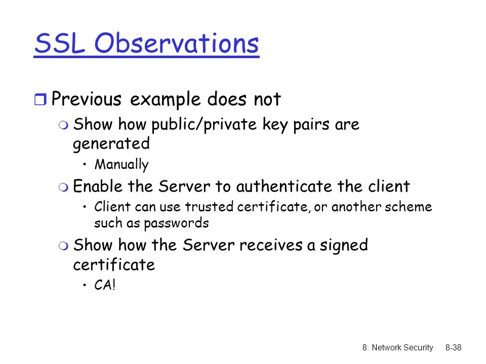 SSL Observations Previous example does not