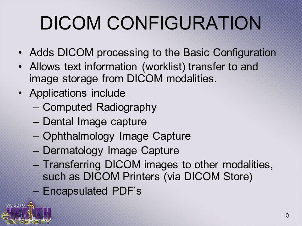 DICOM CONFIGURATION Adds DICOM processing to the Basic Configuration