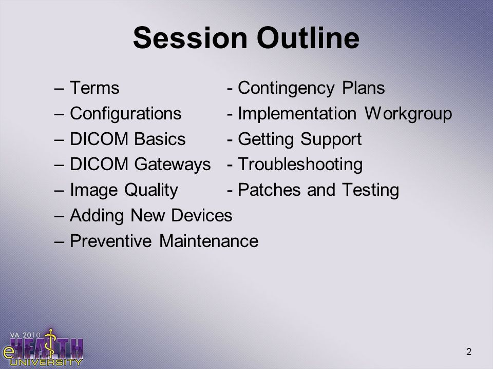Session Outline Terms - Contingency Plans