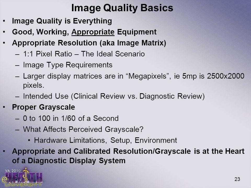 Image Quality Basics Image Quality is Everything
