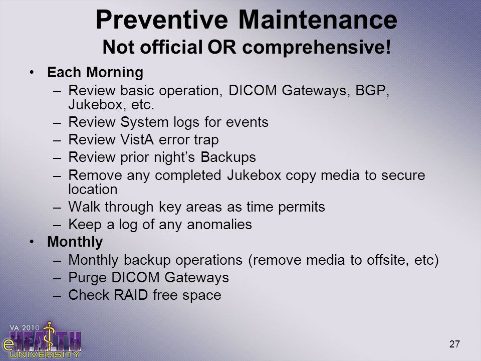 Preventive Maintenance Not official OR comprehensive!