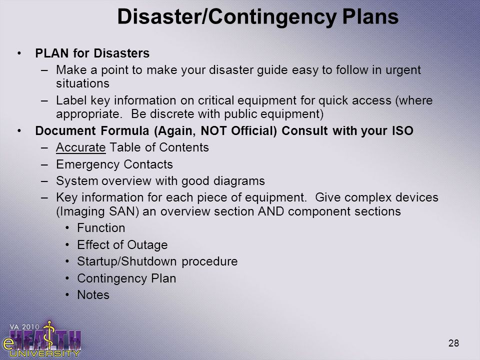 Disaster/Contingency Plans