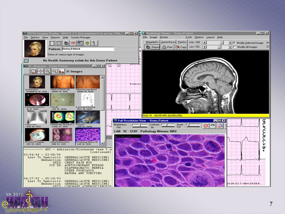 This slide is very useful in demonstrating the different kinds of images that are available via clinical display.