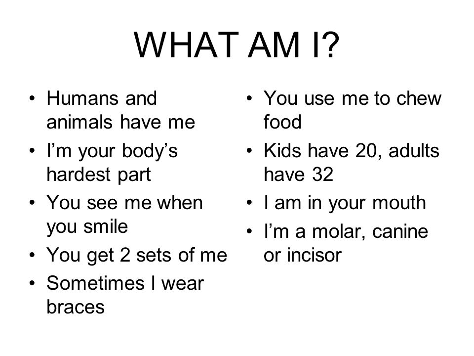 WHAT AM I Humans and animals have me I'm your body's hardest part
