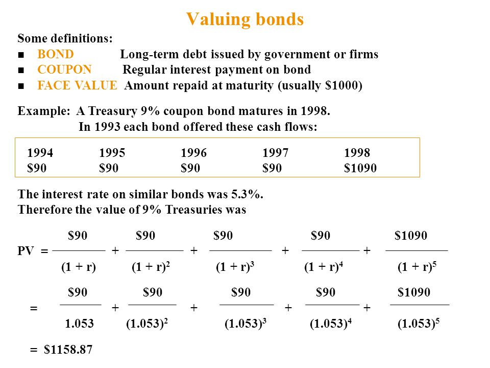 Valuing bonds Some definitions: