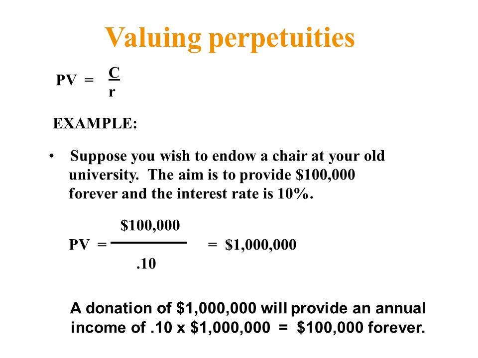 Valuing perpetuities C r EXAMPLE: