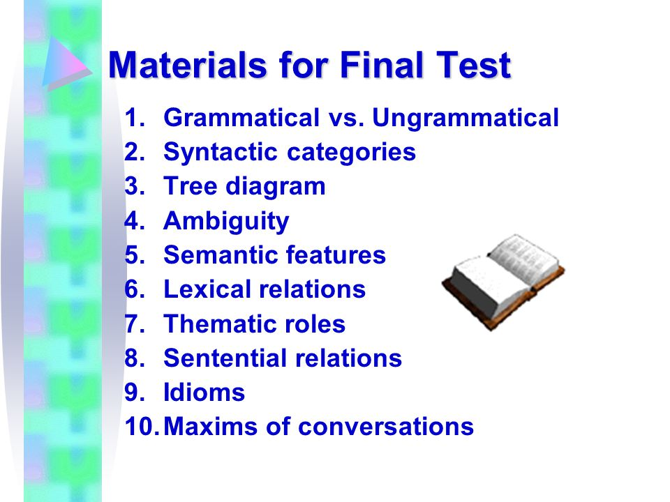 Materials for Final Test