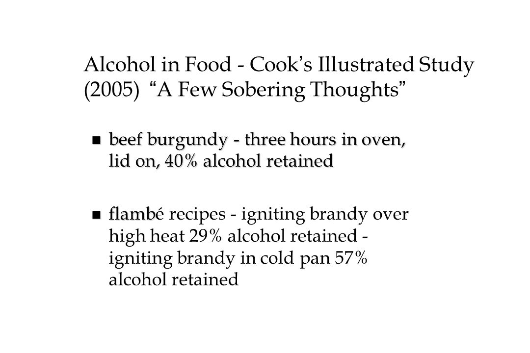 Alcohol in Food - Cook's Illustrated Study (2005) A Few Sobering Thoughts