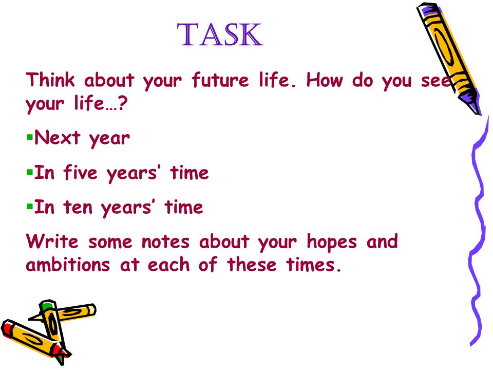 TASK Think about your future life. How do you see your life…