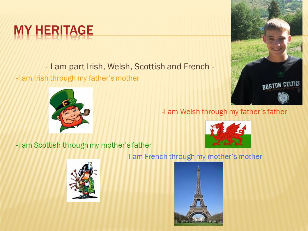My Heritage - I am part Irish, Welsh, Scottish and French -