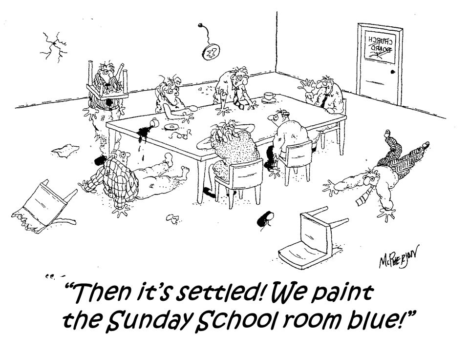 Then it's settled! We paint the Sunday School room blue!