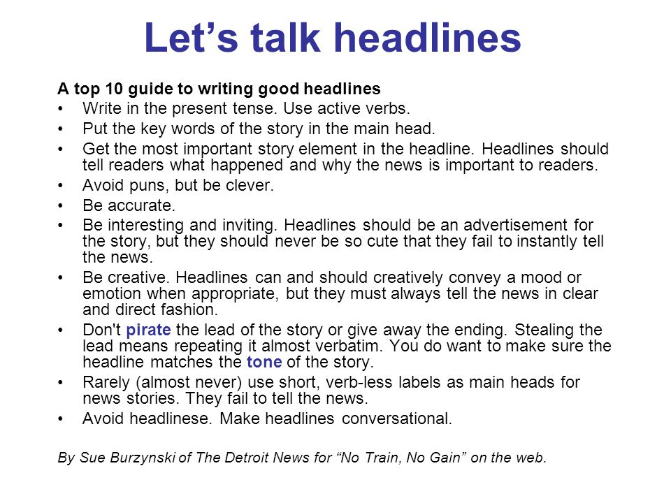 Let's talk headlines A top 10 guide to writing good headlines