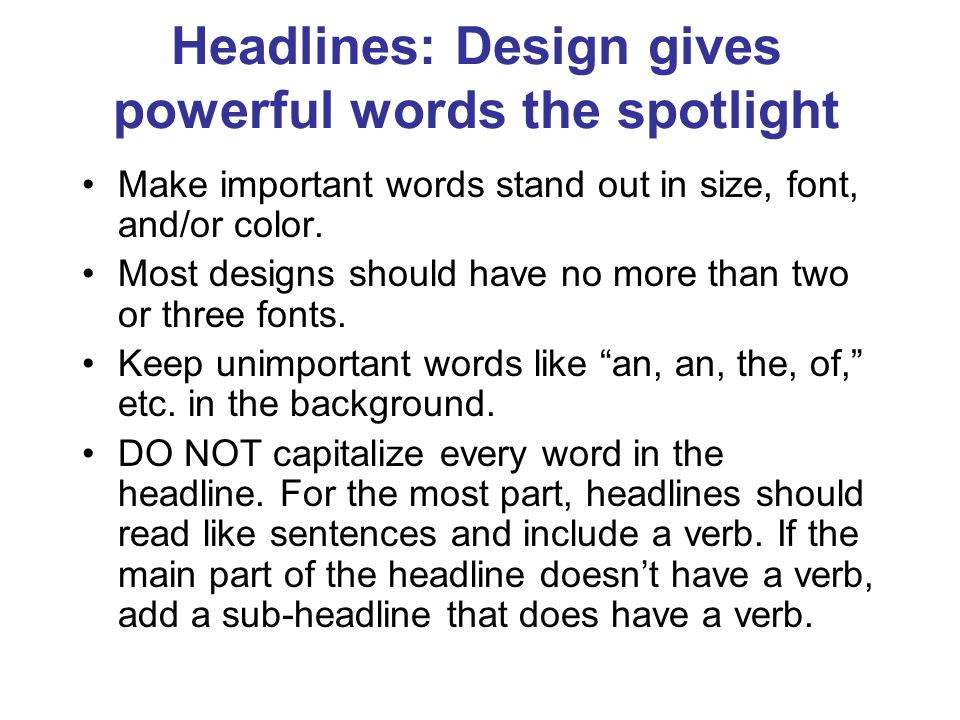 Headlines: Design gives powerful words the spotlight