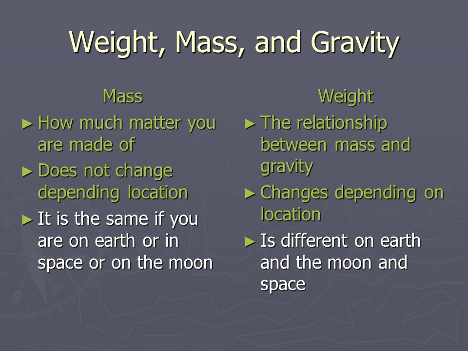 Weight, Mass, and Gravity