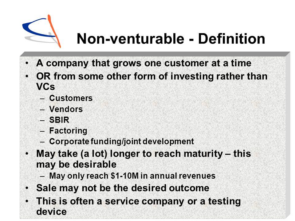 Non-venturable - Definition