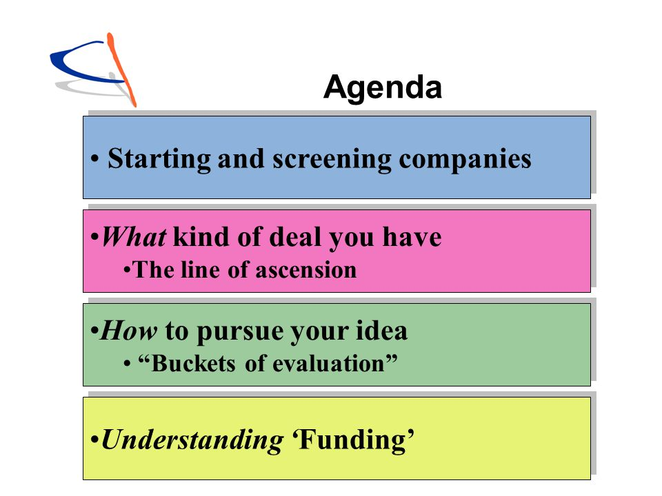 Agenda Starting and screening companies What kind of deal you have