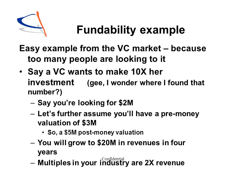 Fundability example Easy example from the VC market – because too many people are looking to it.