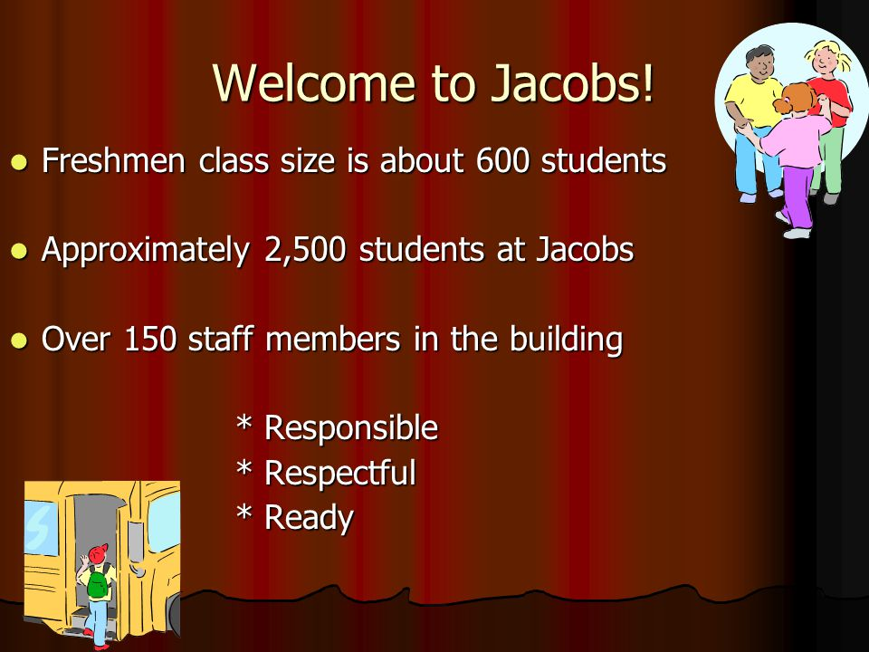 Welcome to Jacobs! Freshmen class size is about 600 students