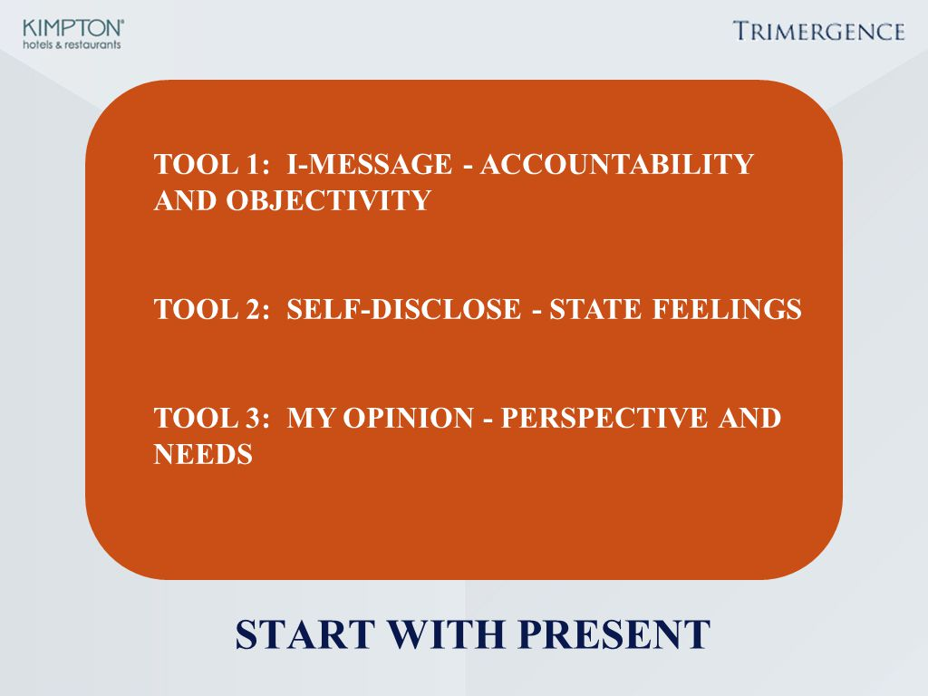 START WITH PRESENT TOOL 1: I-MESSAGE - ACCOUNTABILITY AND OBJECTIVITY