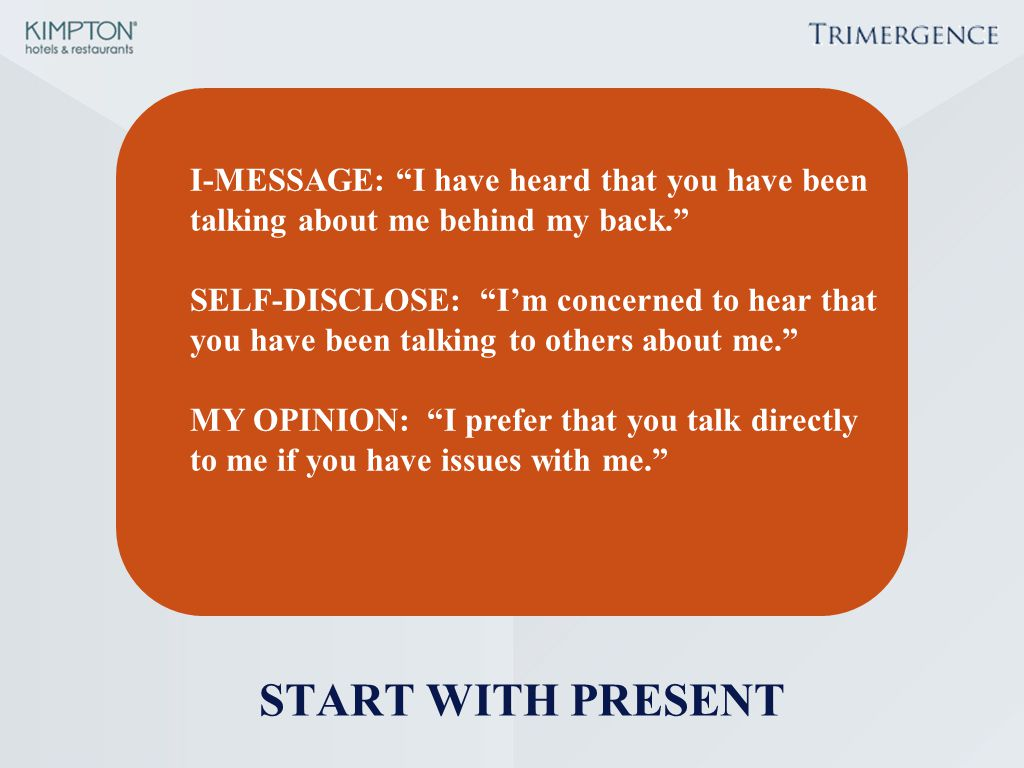 START WITH PRESENT I-MESSAGE: I have heard that you have been