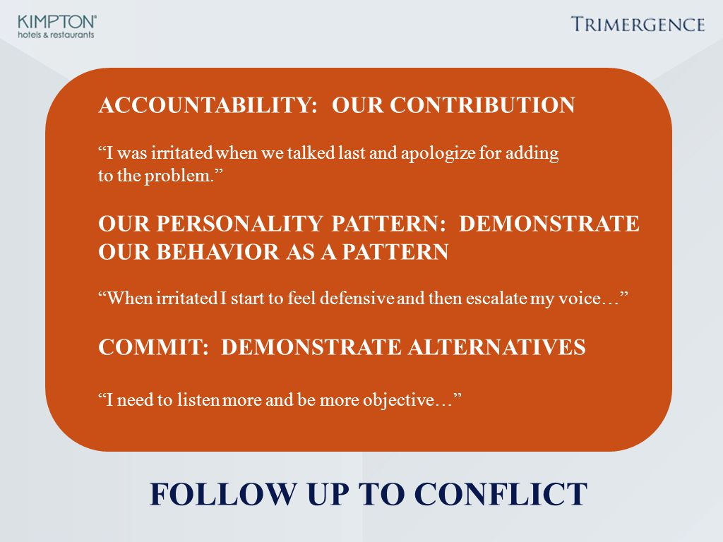 FOLLOW UP TO CONFLICT ACCOUNTABILITY: OUR CONTRIBUTION
