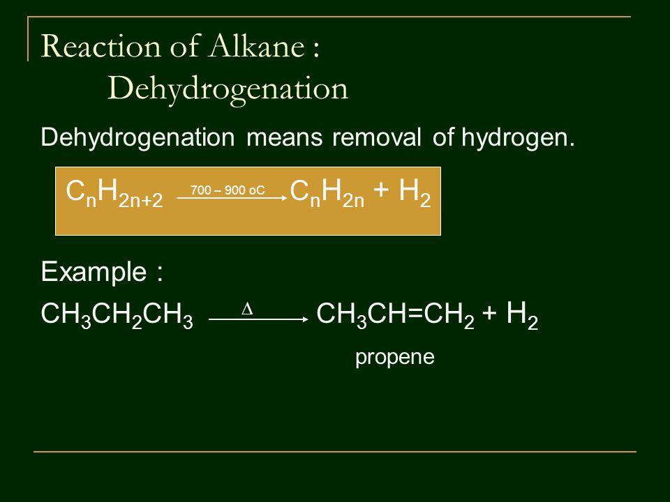 Reaction of Alkane : Dehydrogenation