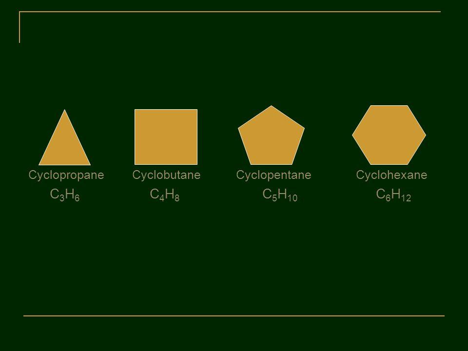 Cyclopropane Cyclobutane Cyclopentane Cyclohexane