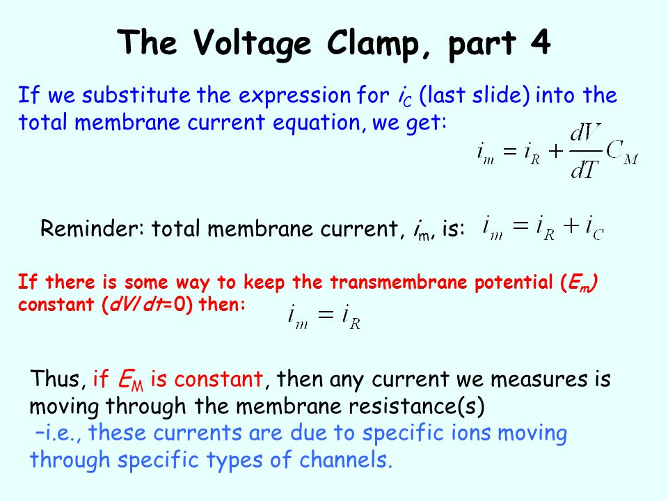 The Voltage Clamp, part 4 If we substitute the expression for iC (last slide) into the total membrane current equation, we get: