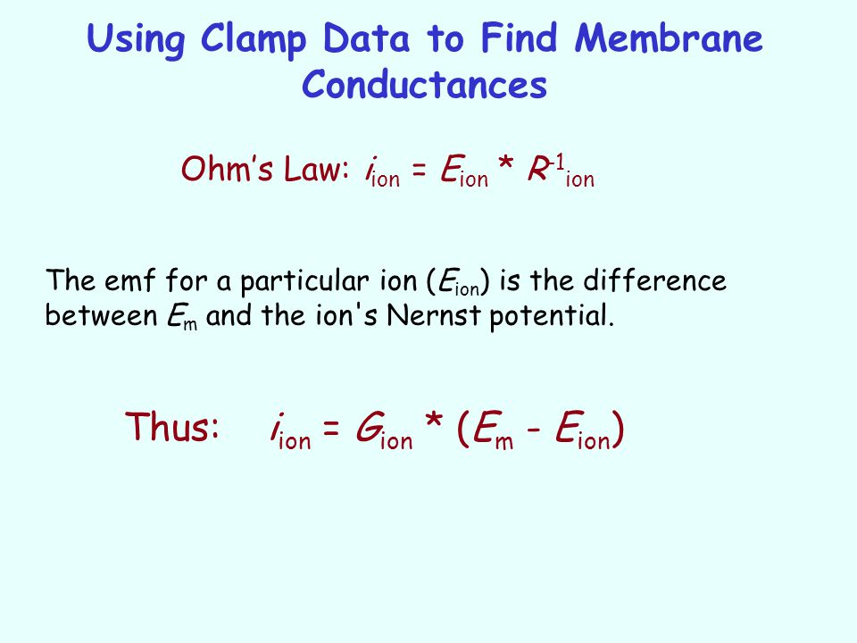 Using Clamp Data to Find Membrane Conductances