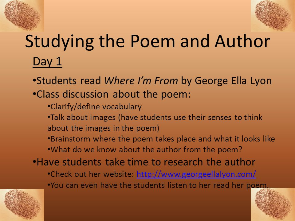Studying the Poem and Author