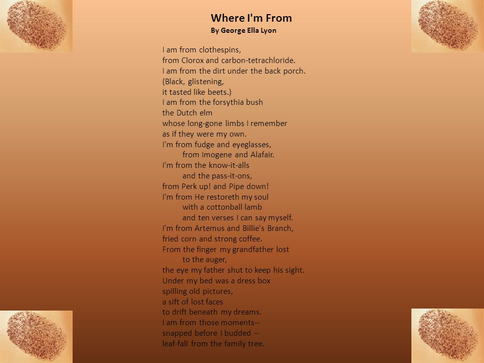 Where I m From By George Ella Lyon.