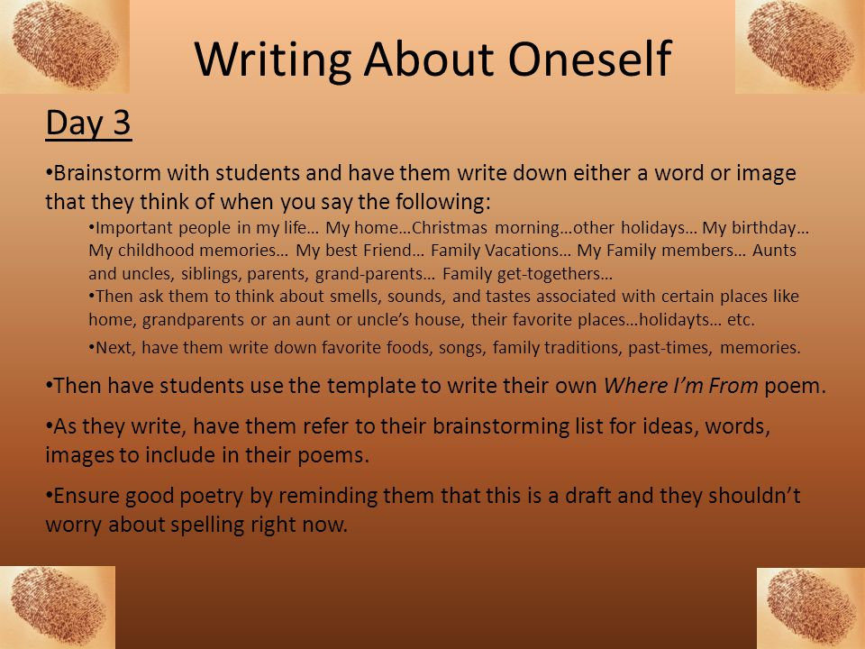 Writing About Oneself Day 3