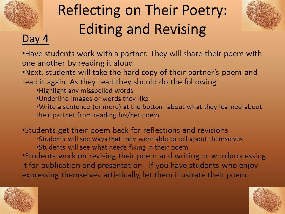 Reflecting on Their Poetry: Editing and Revising