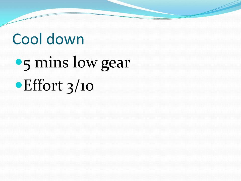 Cool down 5 mins low gear Effort 3/10